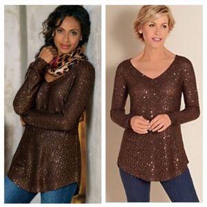 BOGO! SOFT SURROUNDINGS Gold Shimmer Sequin Sweater Tunic